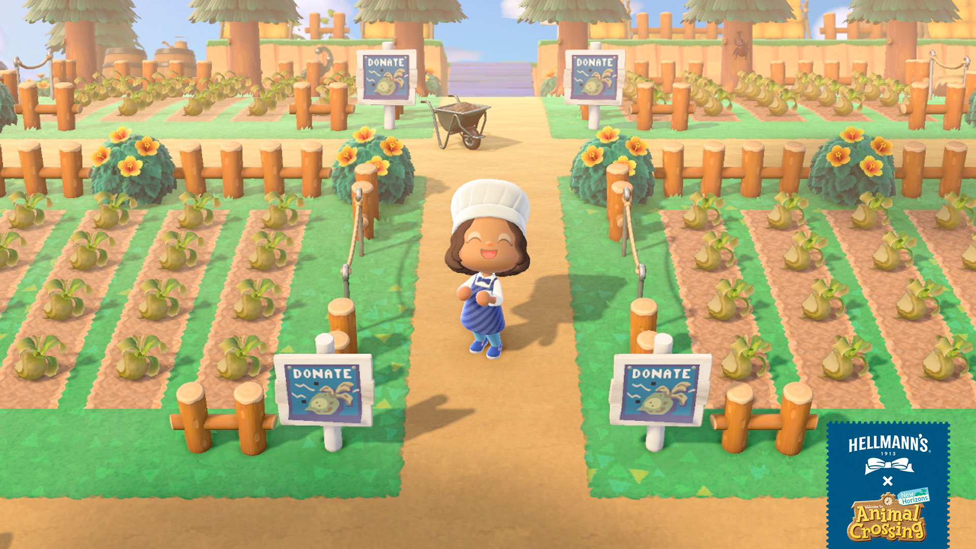 Smiling Animal Crossing character standing next to numerous donated, rotting turnips.