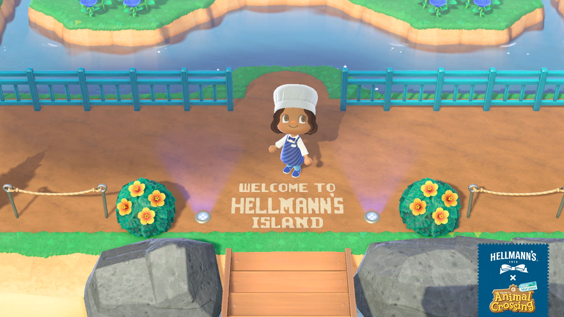 "Animal Crossing character standing over letters in ground that says, ""Welcome to Hellman's Island"""""