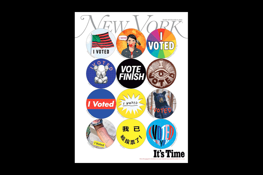 NY Mag cover with I Voted stickers