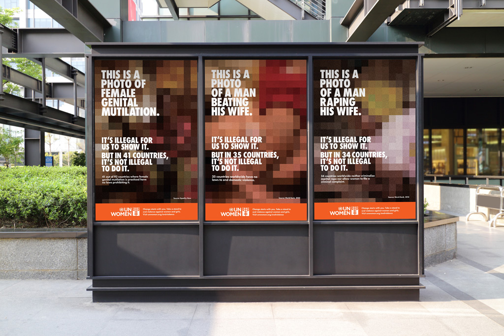 Three posters of the UNseen campaign side by side