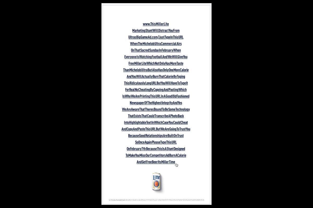 Miller Lite URL NYT ad