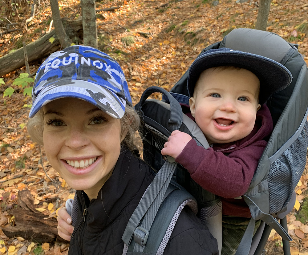 covid mom hiking with baby