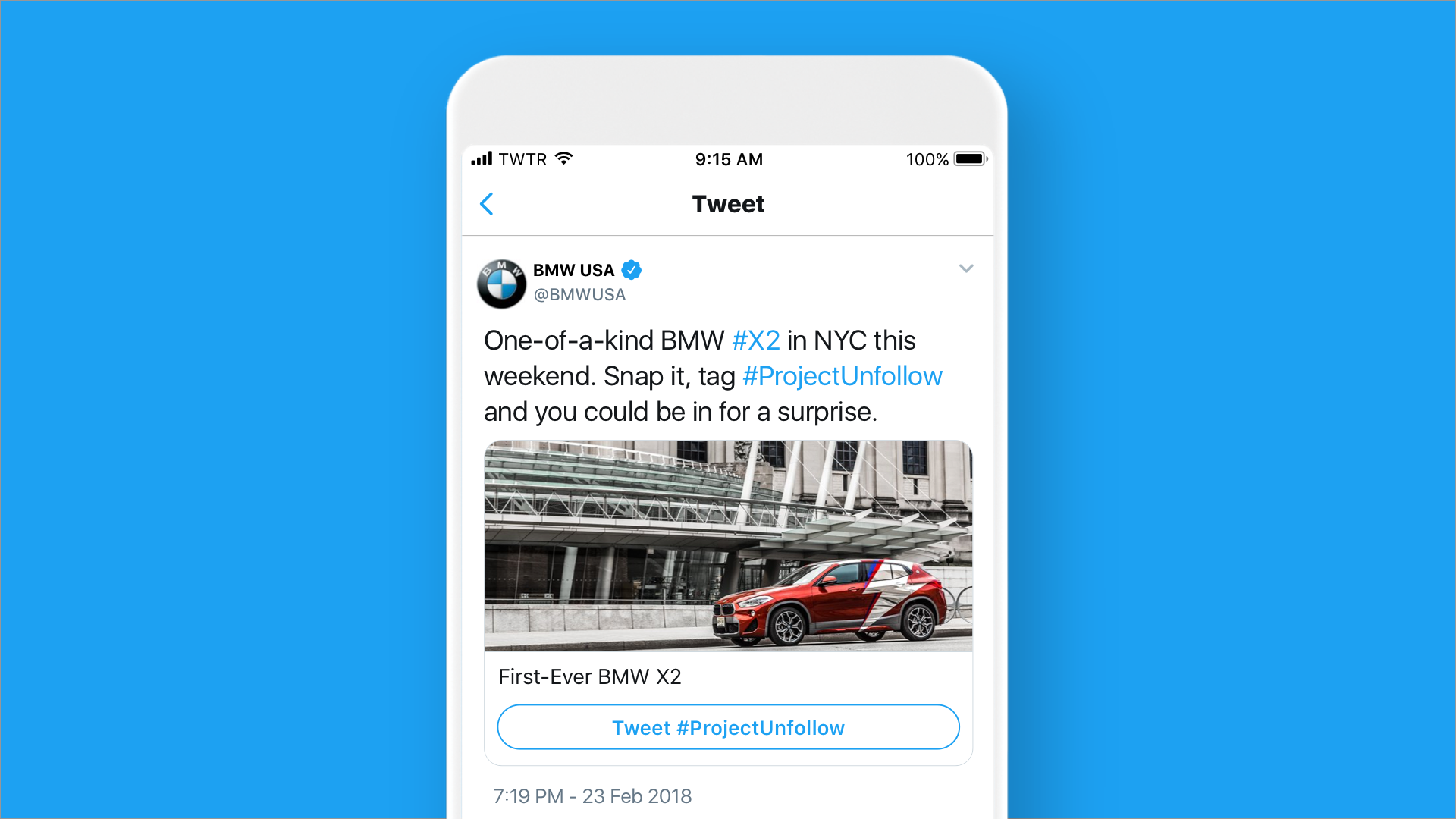 Twitter Conversational Card - BMW X2 in NYC