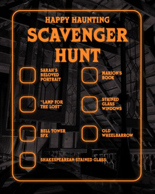 Facebook haunted house scavenger hunt checklist