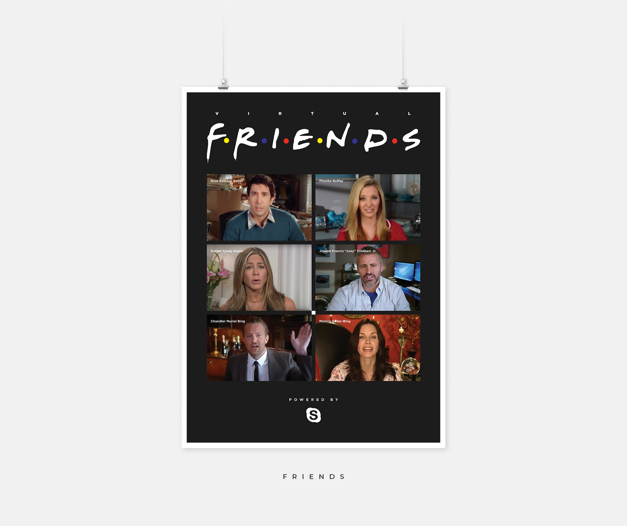 A Friends poster with an image of the cast of Friends speaking with one another on a Zoom call.