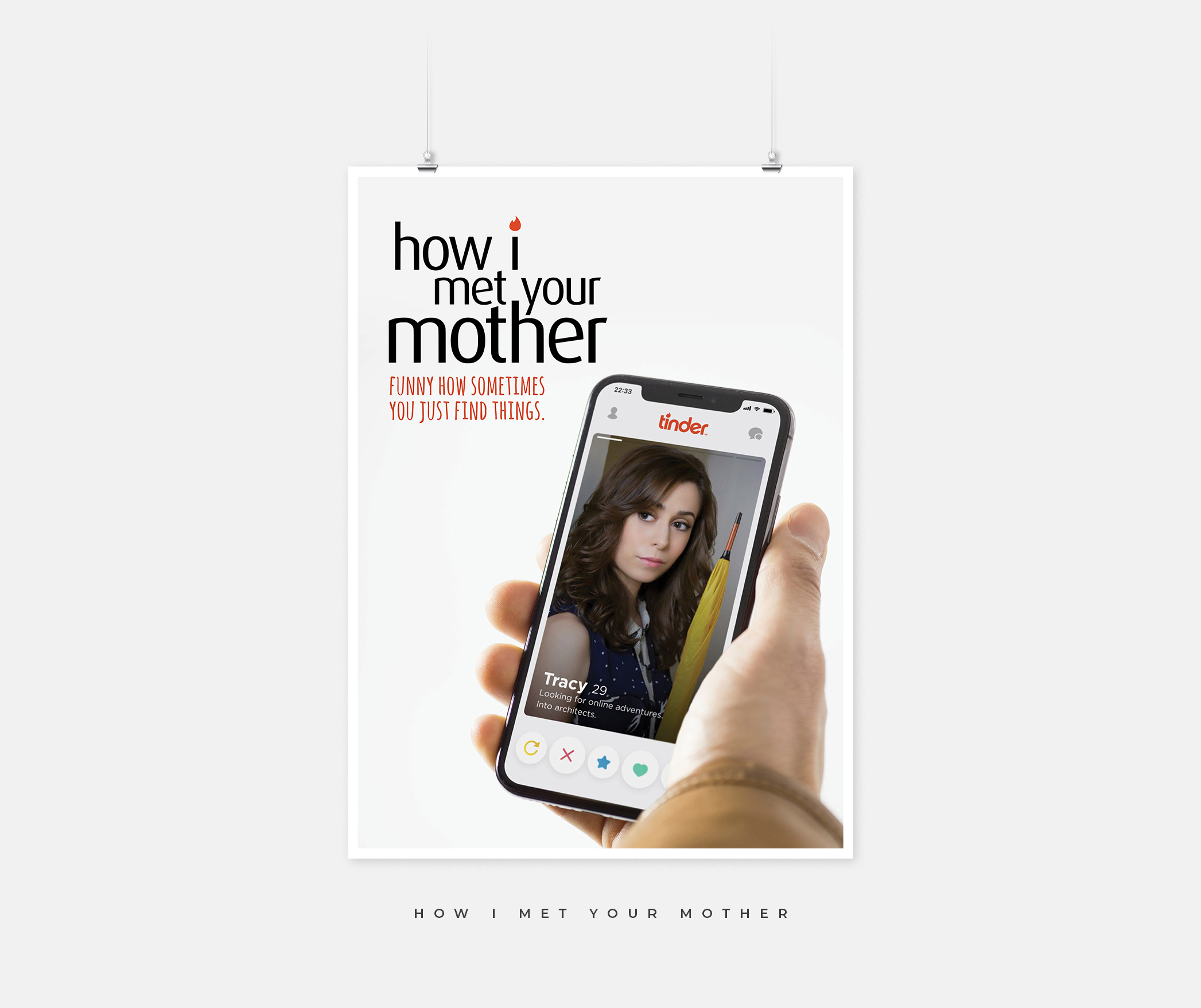 How I Met Your Mother poster with an image of a hand holding a phone with the Tinder app open.