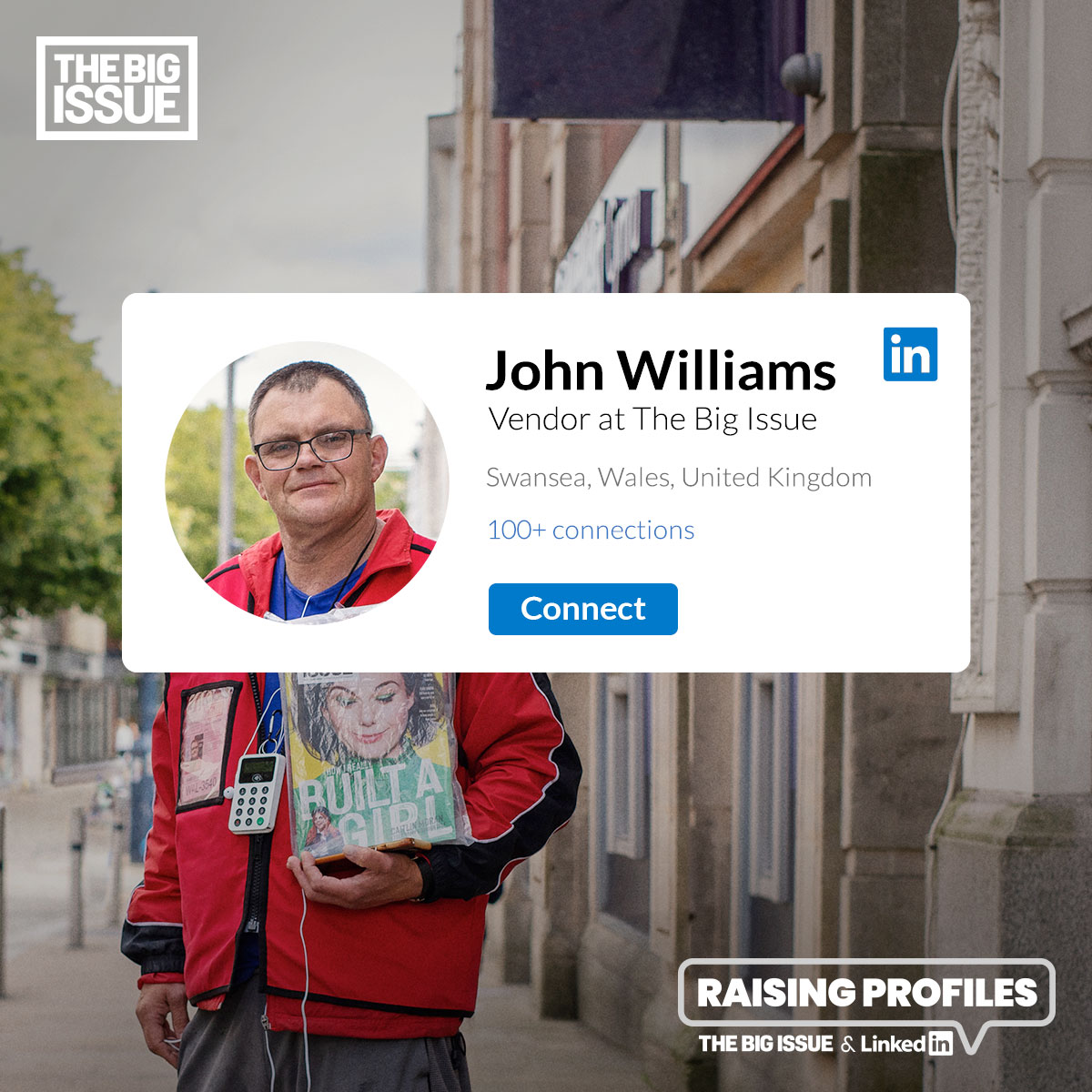 The Big Issue vendor - John Williams