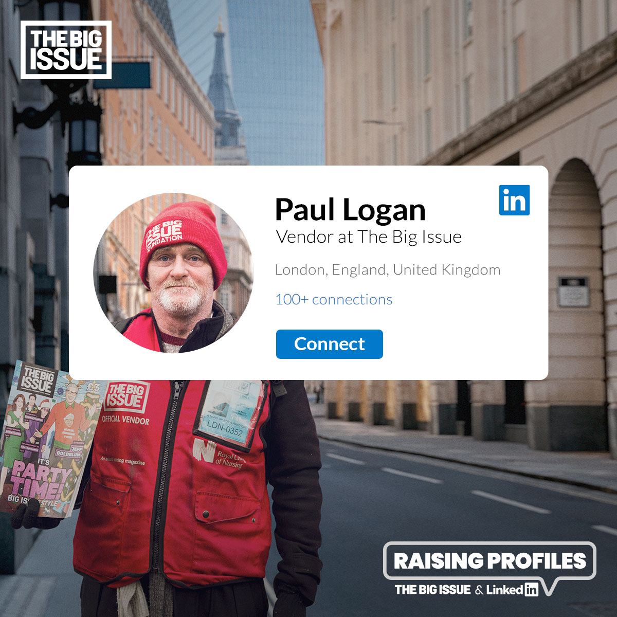 The Big Issue vendor - Paul Logan