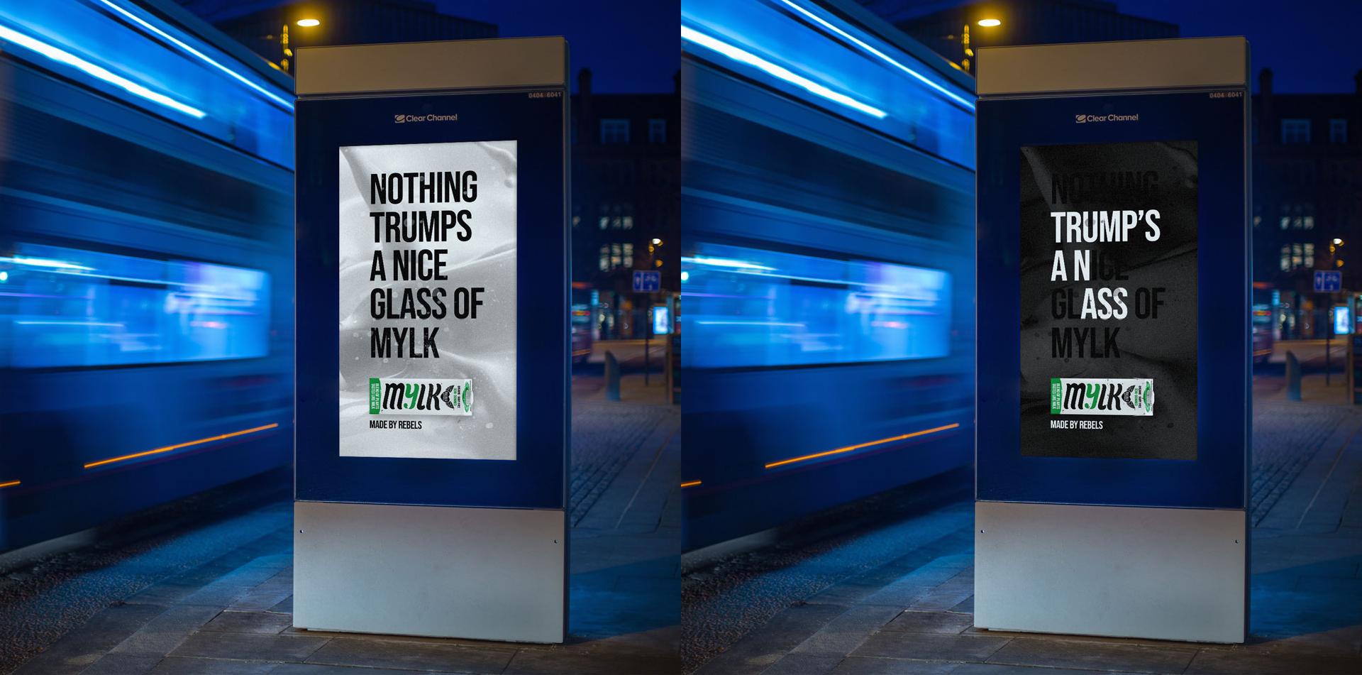 """Rebel Kitchen ad showing the hidden message """"Trump's an ass"""""""