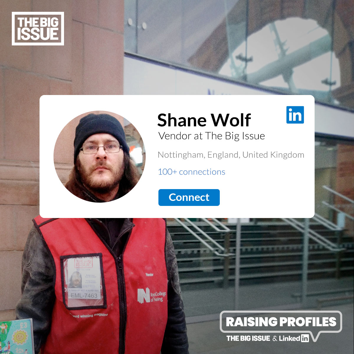 The Big Issue vendor - Shane Wolf