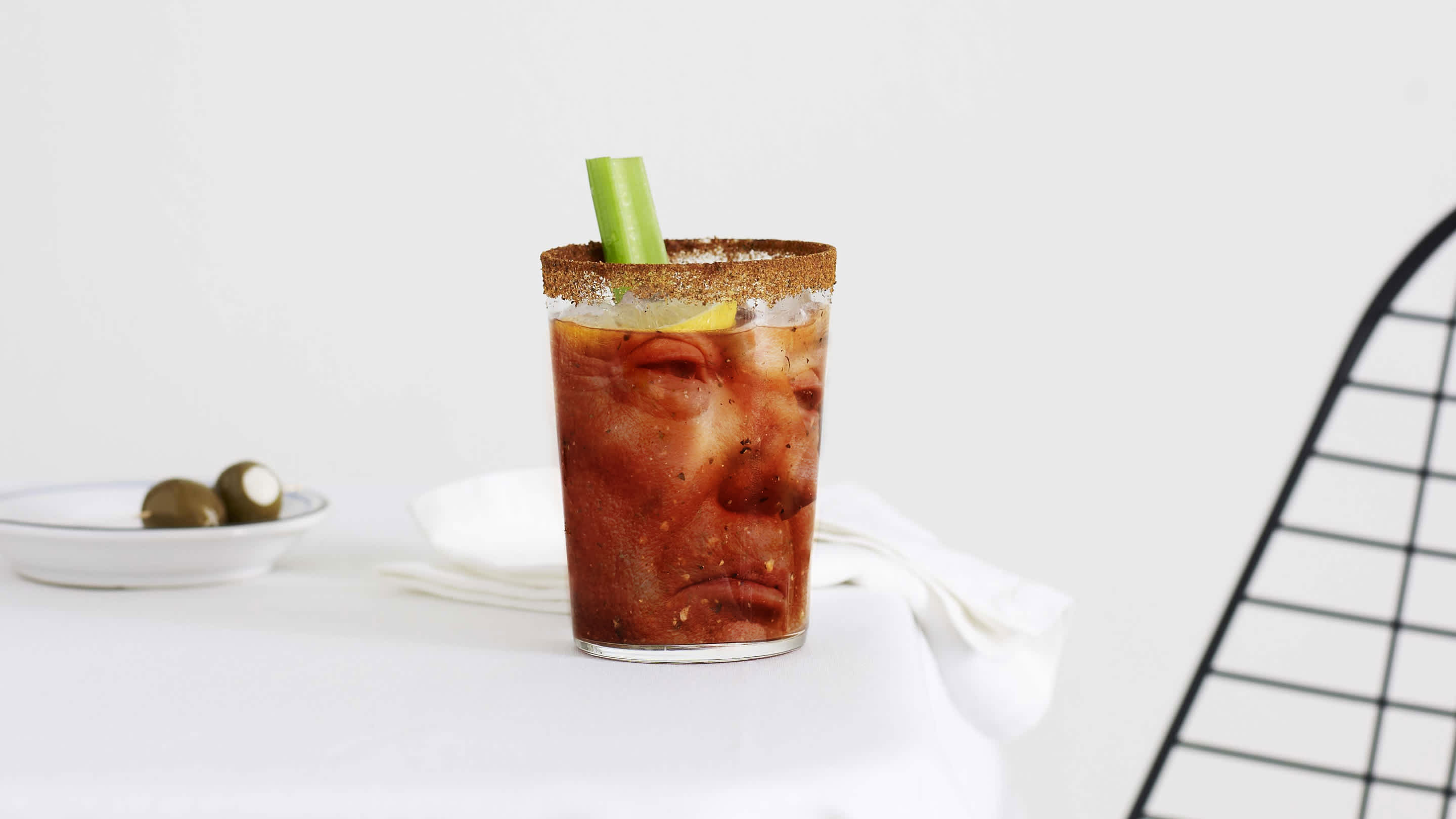 Donald Trump's face embedded in a bloody mary