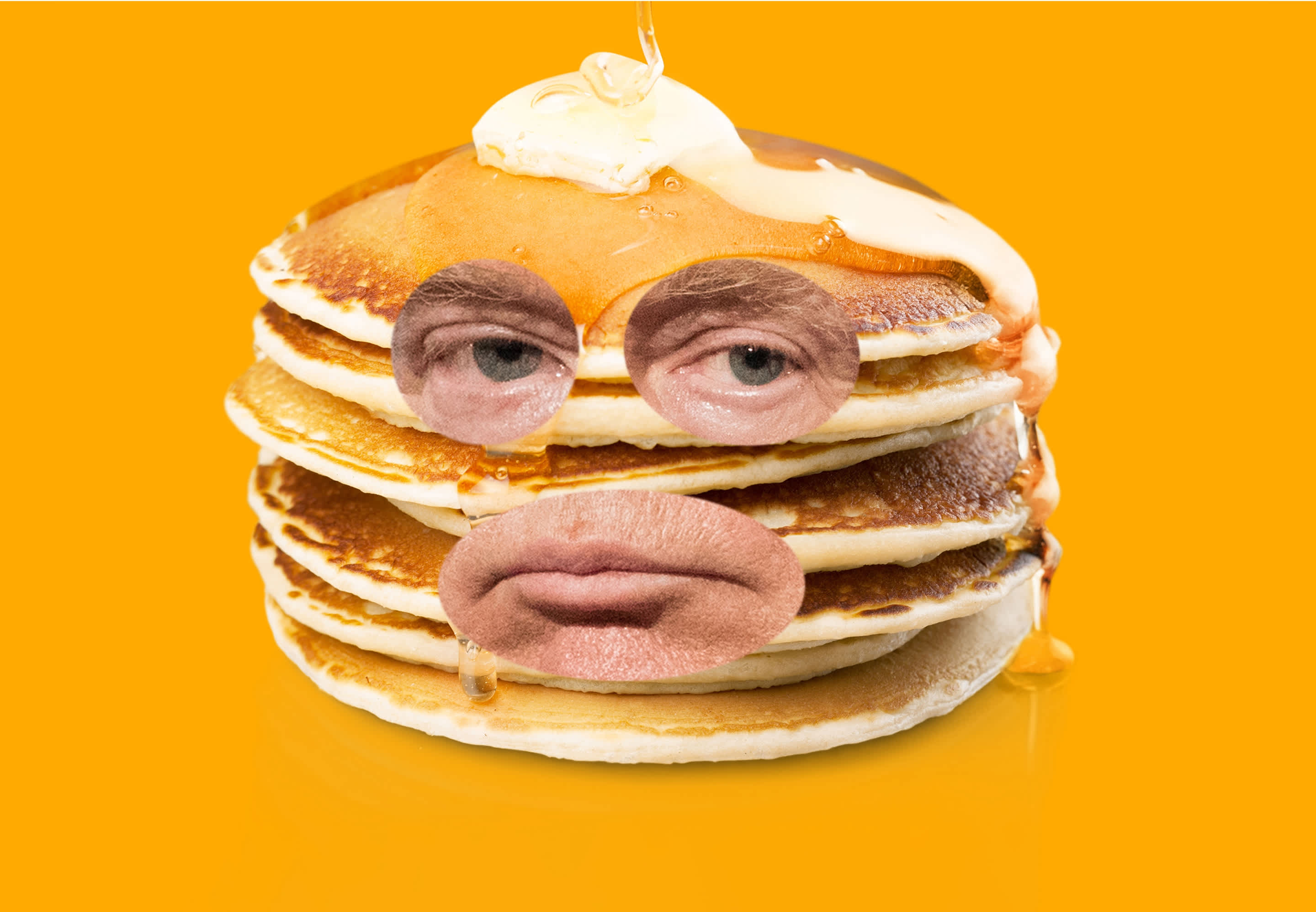 Donald Trump's face embedded in a pancake