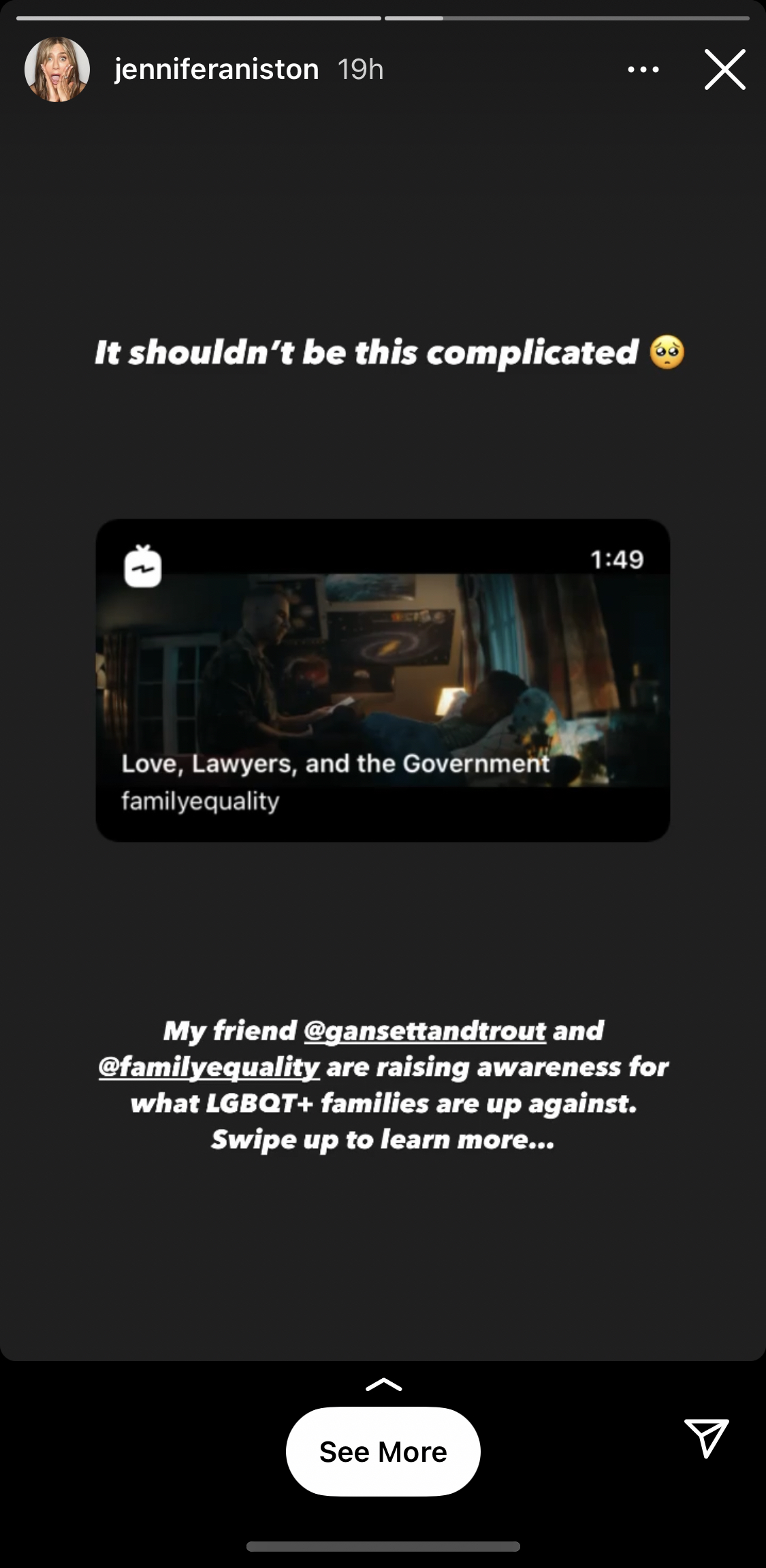 Jennifer Anniston Instagram story