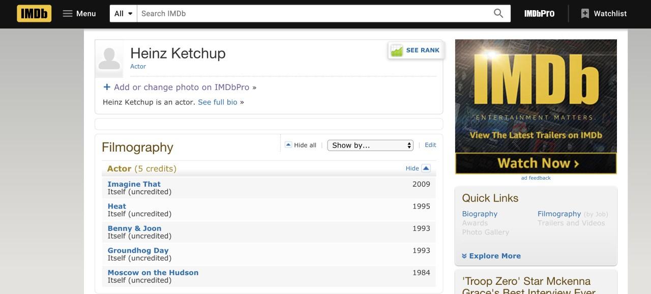 Heinz on IMDB