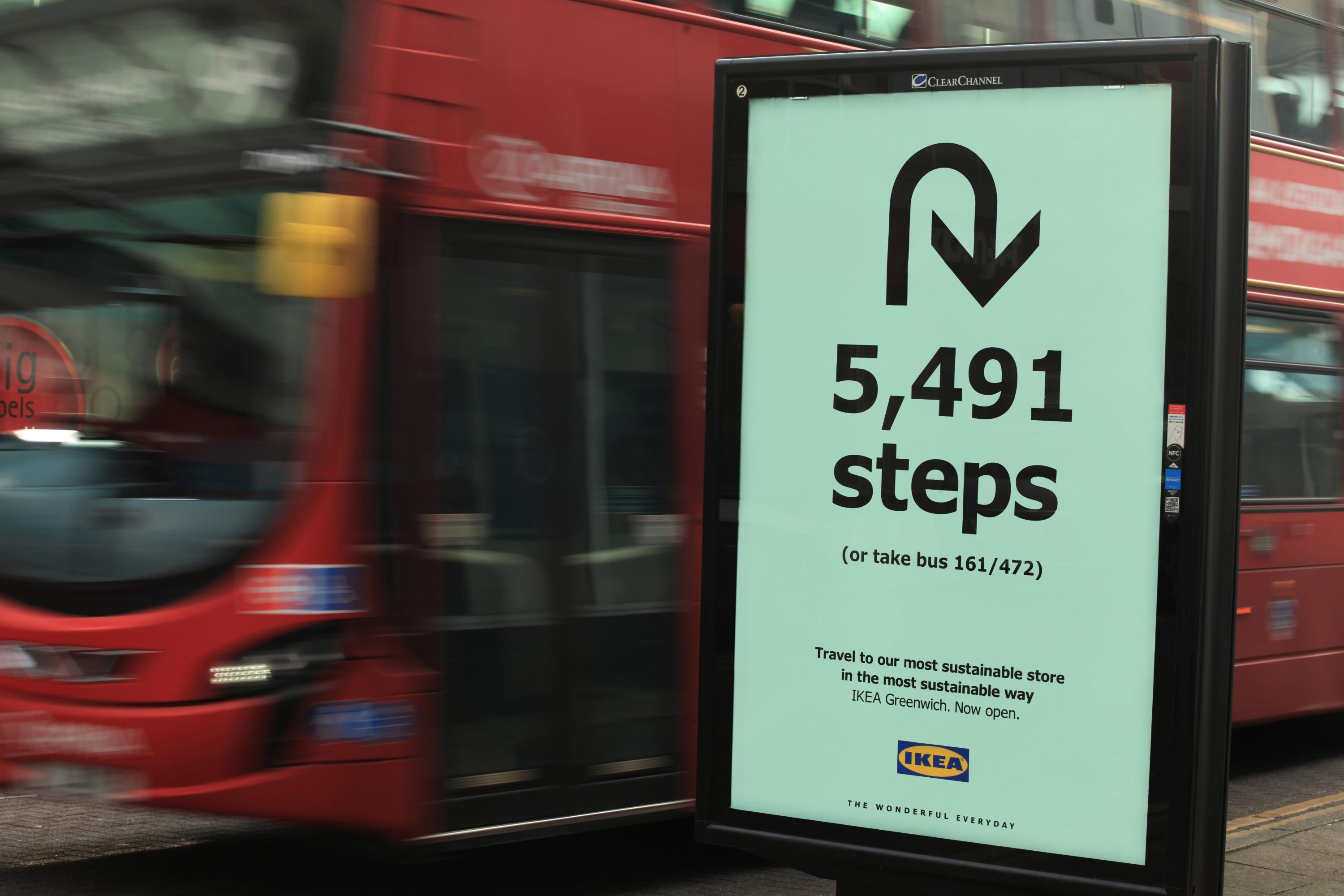 Ikea's outdoor ads direct you to walk, not drive, to its