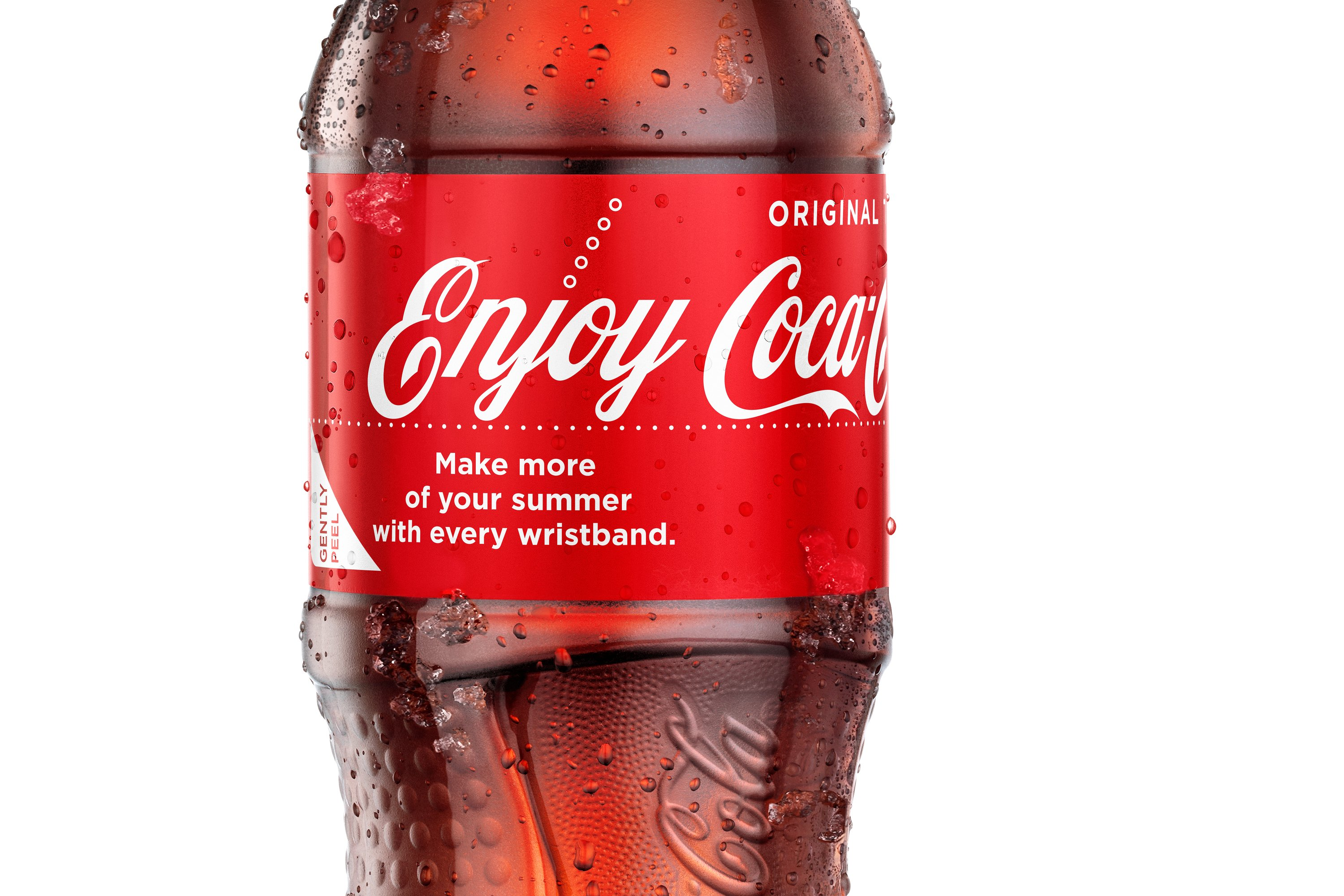 Coca-Cola is putting the word 'enjoy' on its packaging and making labels that turn into summer-themed wristbands.