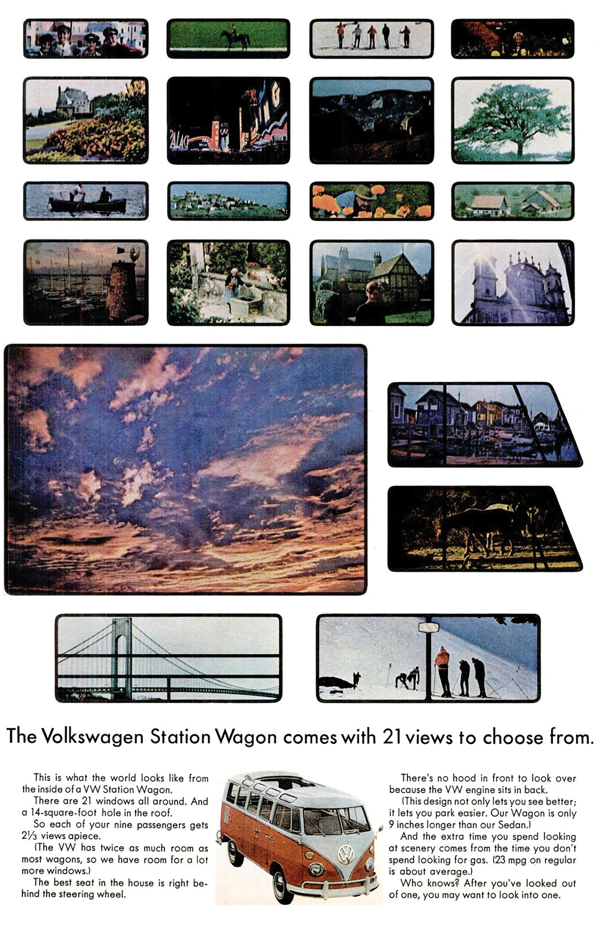 A vintage VW bus ad evokes blue skies, hippie vibes and a pre