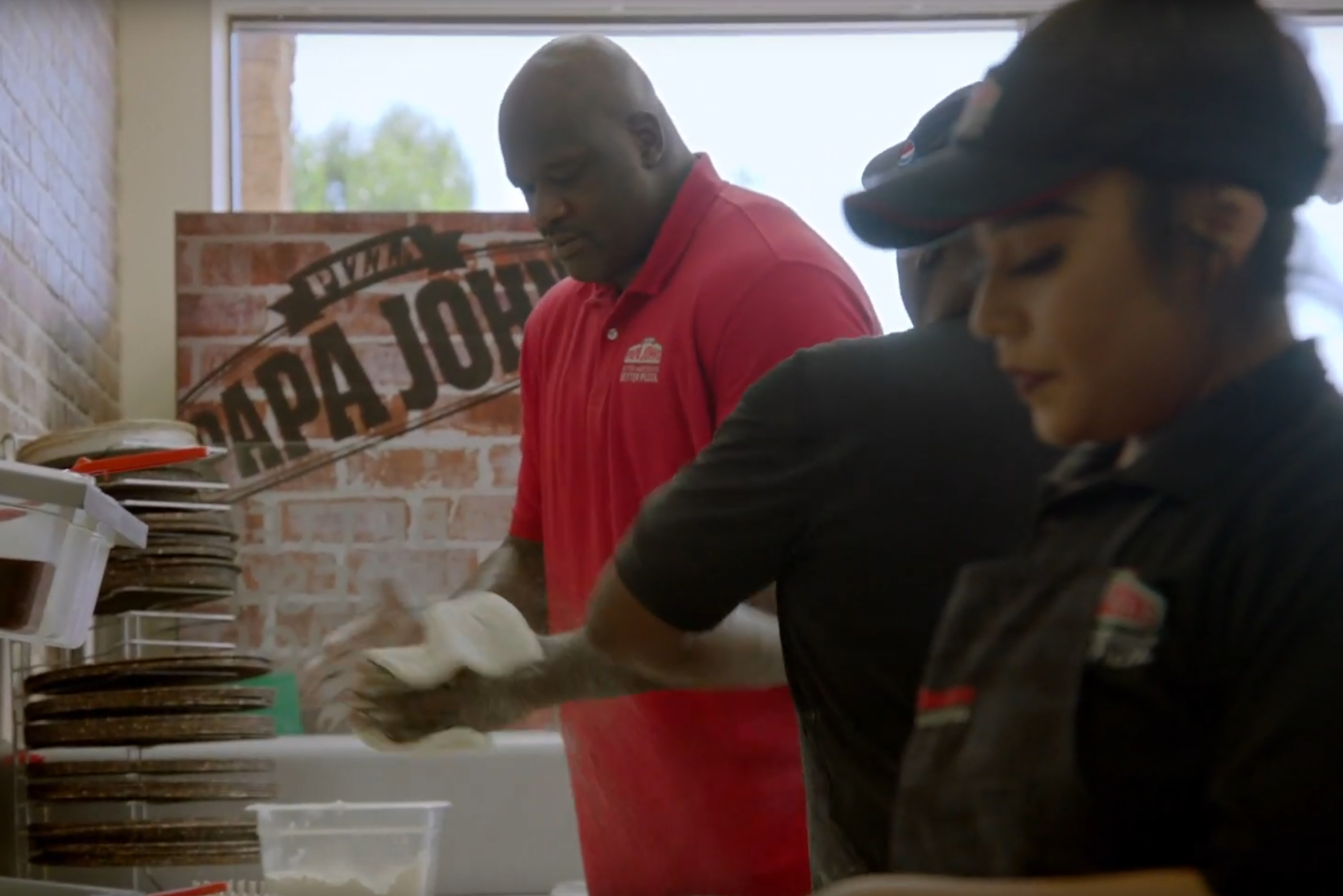 Shaquille O'Neal stars in his first TV spot for Papa John's.