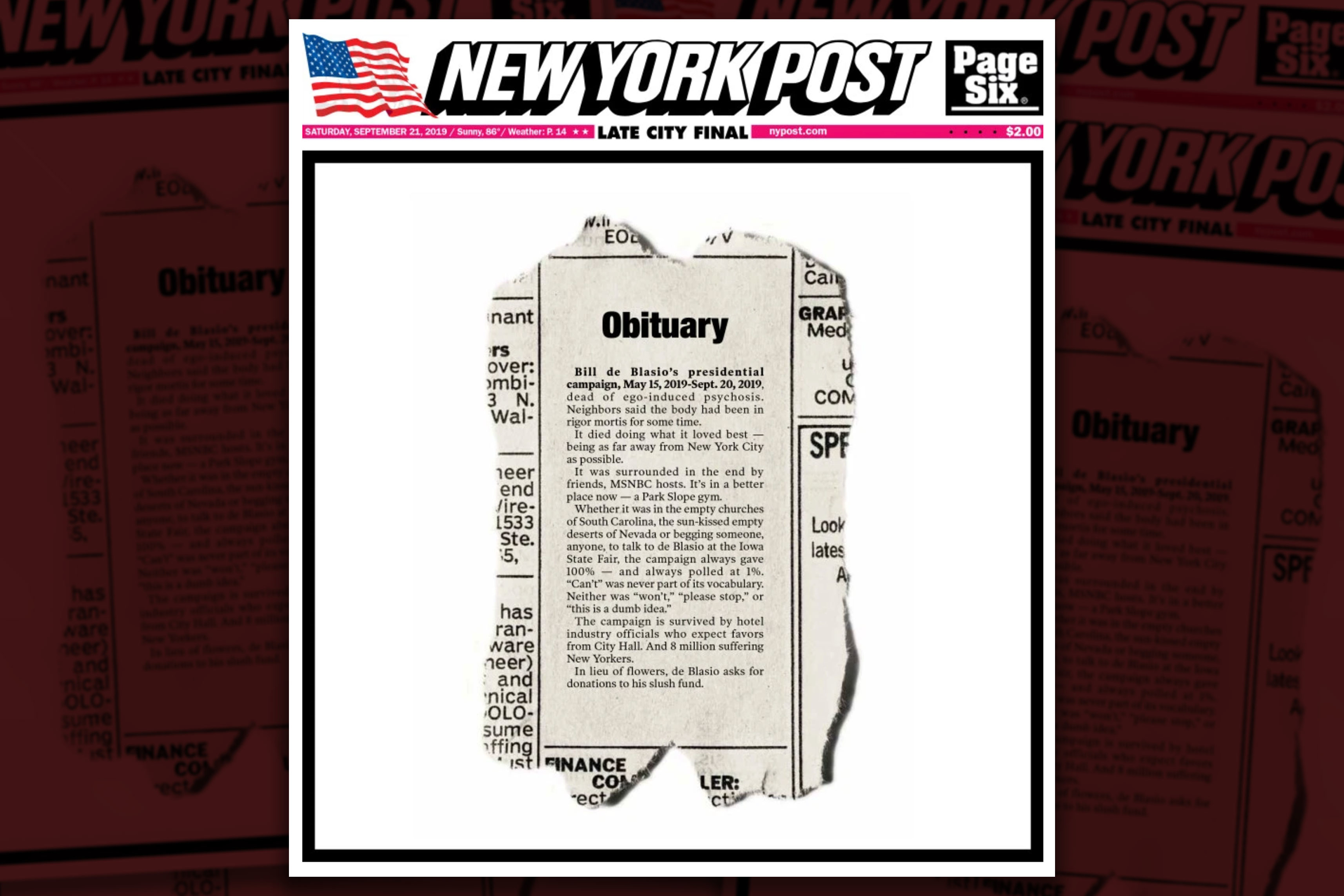 ICYMI: The New York Post's deliciously harsh obit for the de Blasio campaign