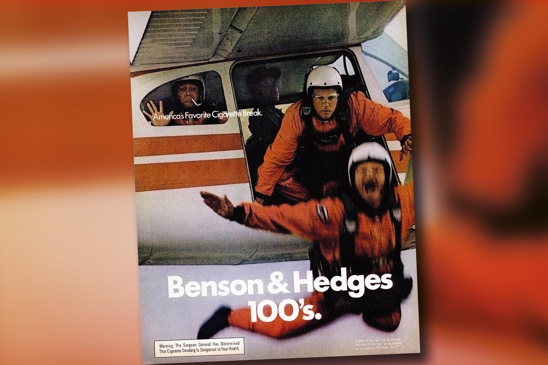 A vintage Benson & Hedge's ad evokes a cheekier (but no less deadly) era of cigarette marketing