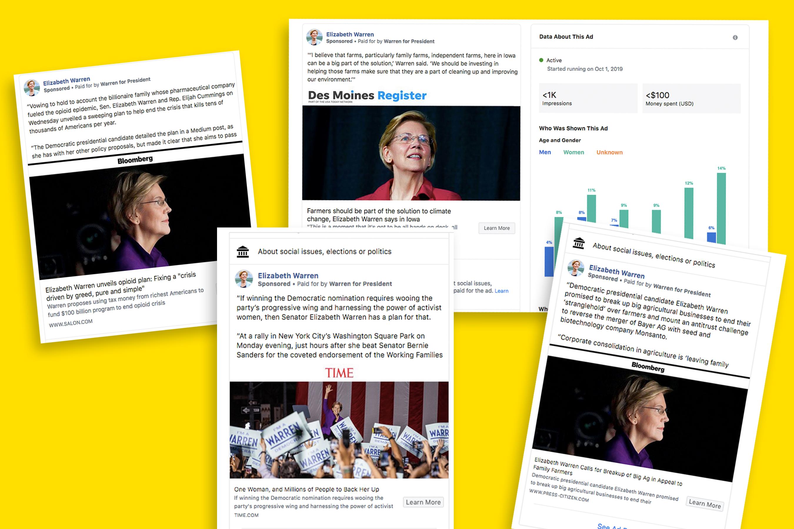 Elizabeth Warren's Facebook ads turn news coverage into political messages