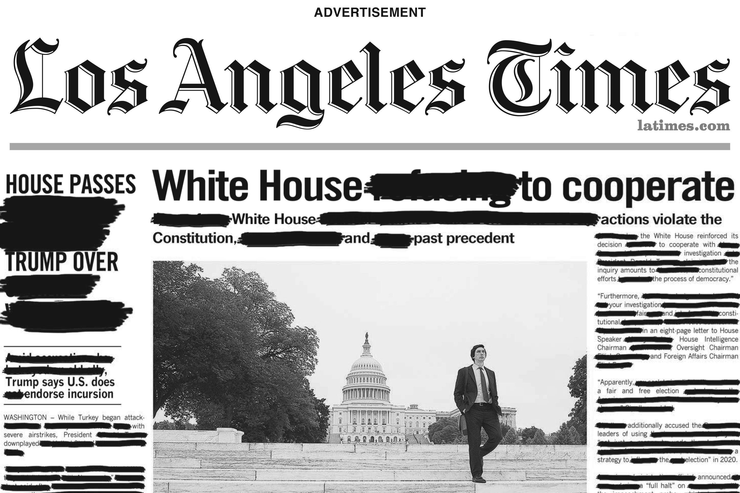 Redacted pages in the New York Times, USA Today, the L.A. Times and more promote Amazon's 'The Report'