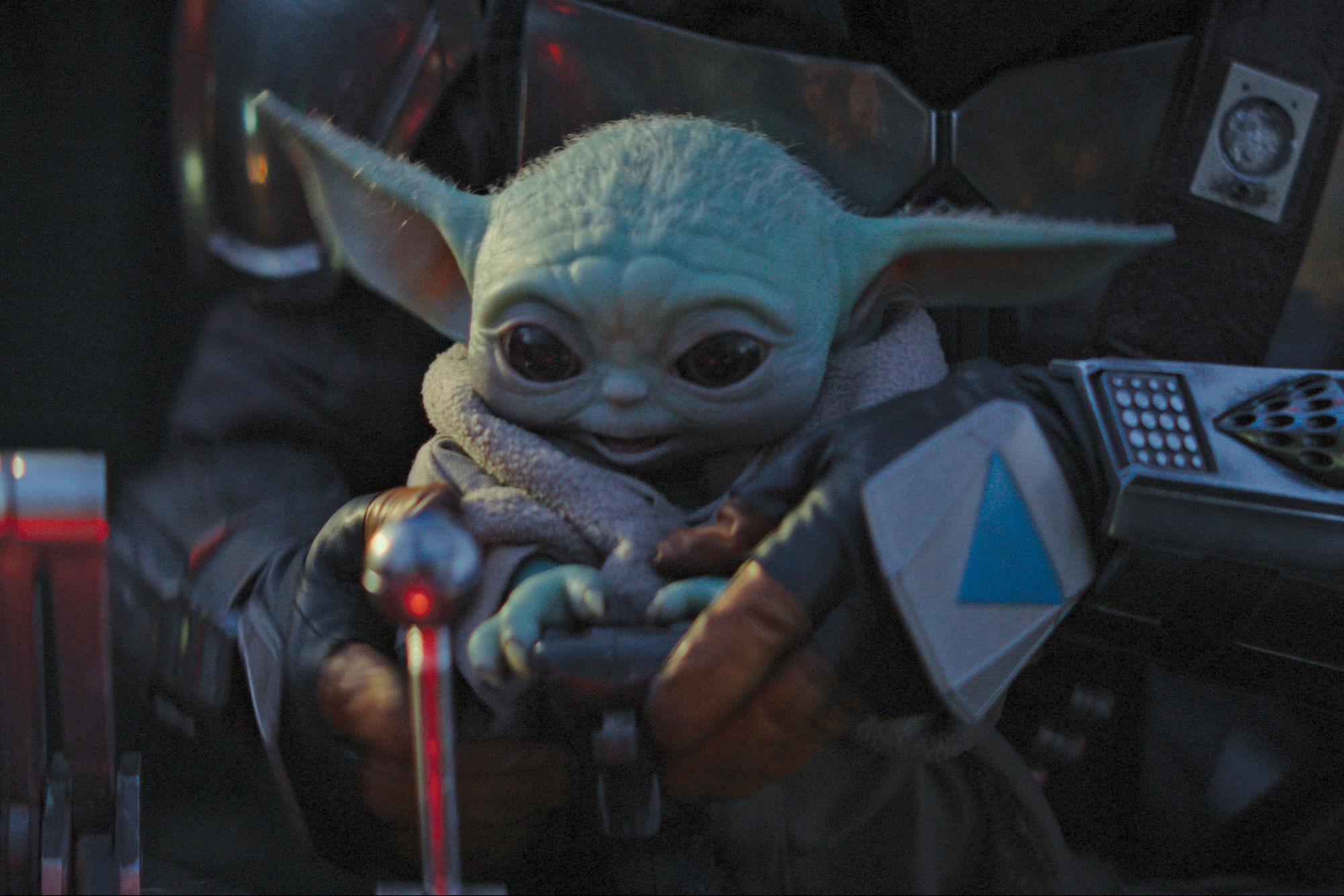 A close shot of Baby Yoda from the Disney+ show 'The Mandalorian'