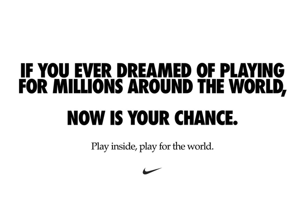 Nike encourages people to 'play inside' to 'play for the world' in coronavirus message