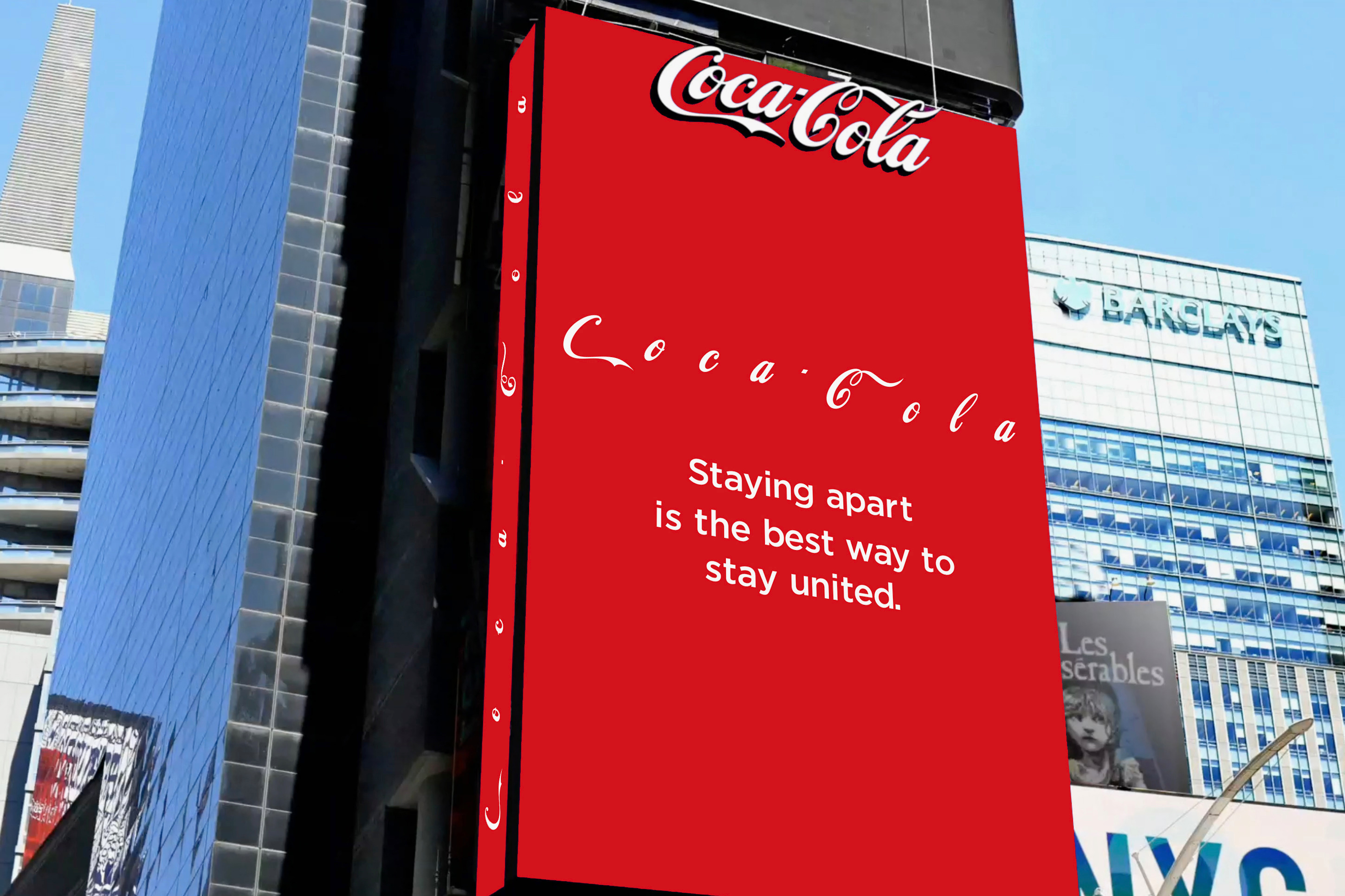 Coke puts social distancing message in Times Square