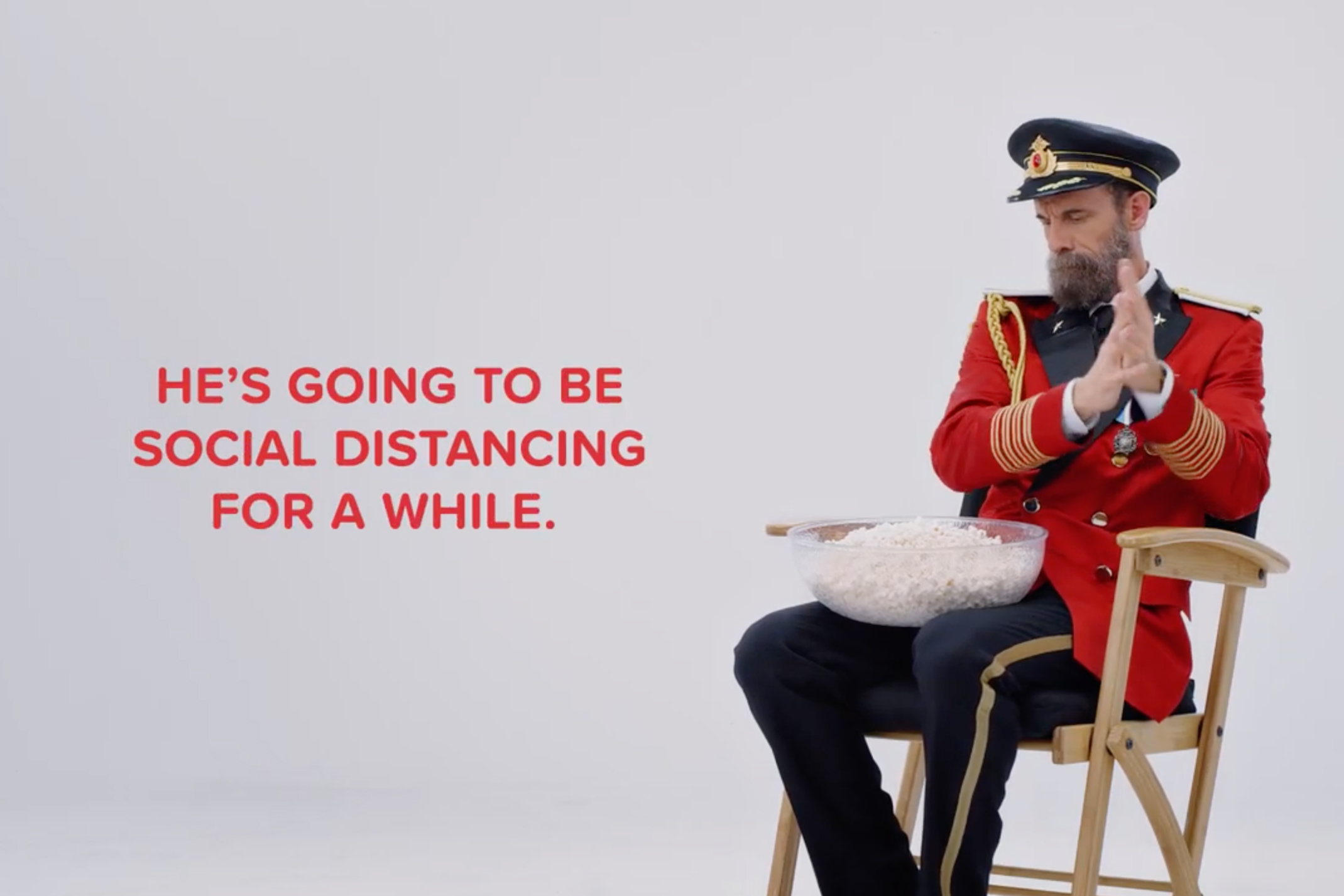 Captain Obvious is social distancing too in a Hotels.com TV ad