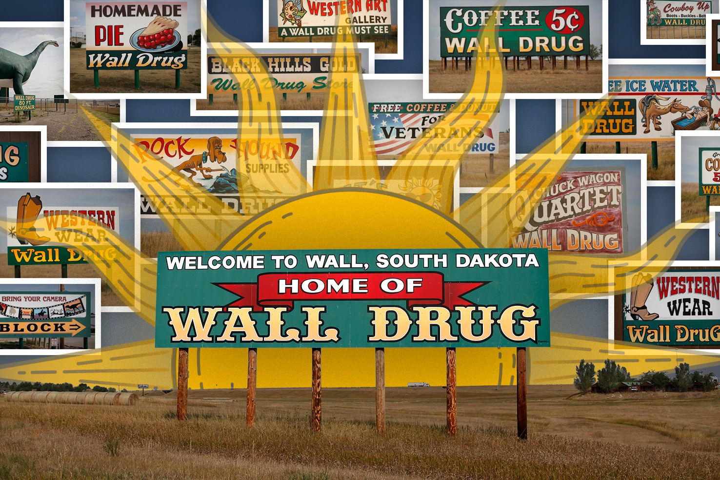 Wall Drug advertising marketing handpainted handmade signs billboards roadside OOH out of home Wall South Dakota SD Badlands Rapid City Sioux Falls Interstate 90 history free ice water coffee five cents nostalgia drugstore tourism travel road trip
