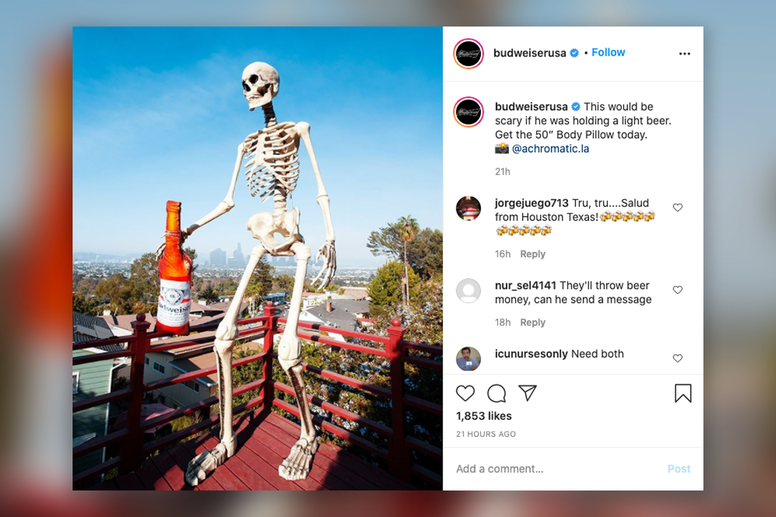 Home Depot's sold-out giant Halloween skeletons creep into brands' social feeds