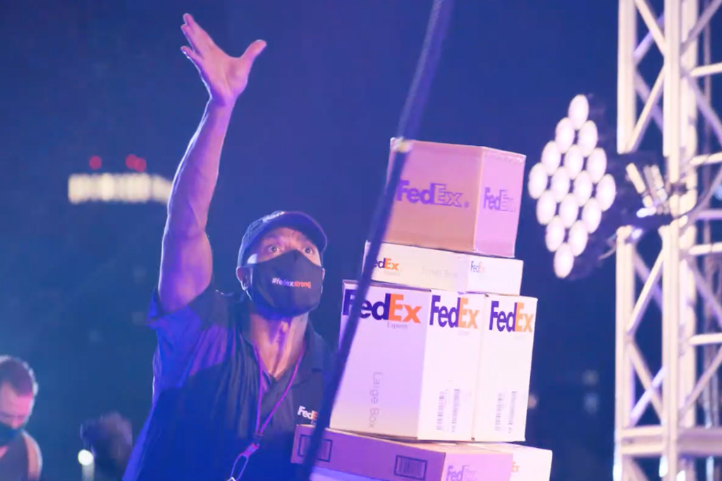 A courier trains for the holiday 'shipathon' in FedEx's 'Ninja Warrior'-style spot