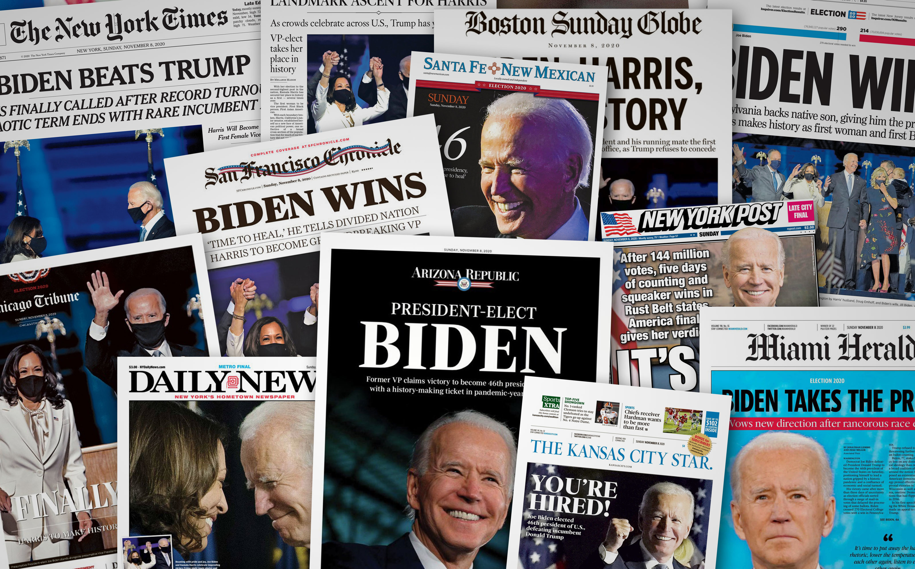 See the front pages: How U.S. newspapers covered Joe Biden's win