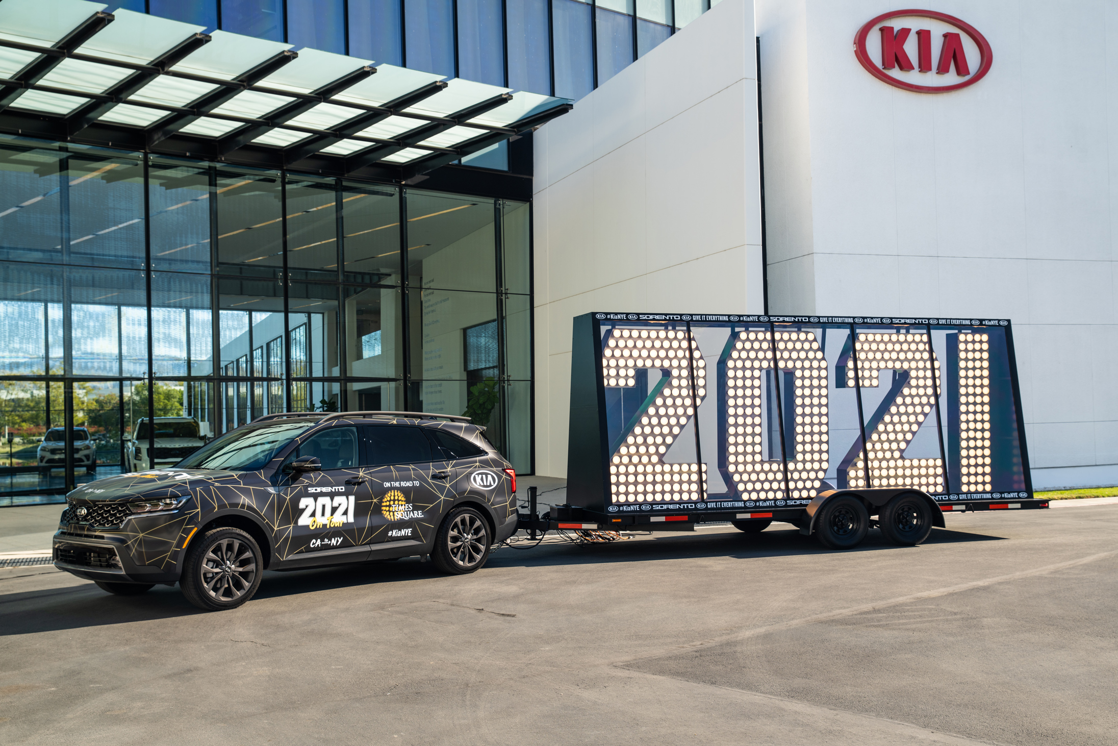 Kia to haul Times Square's '2021' across the country as part of New Year's Eve marketing