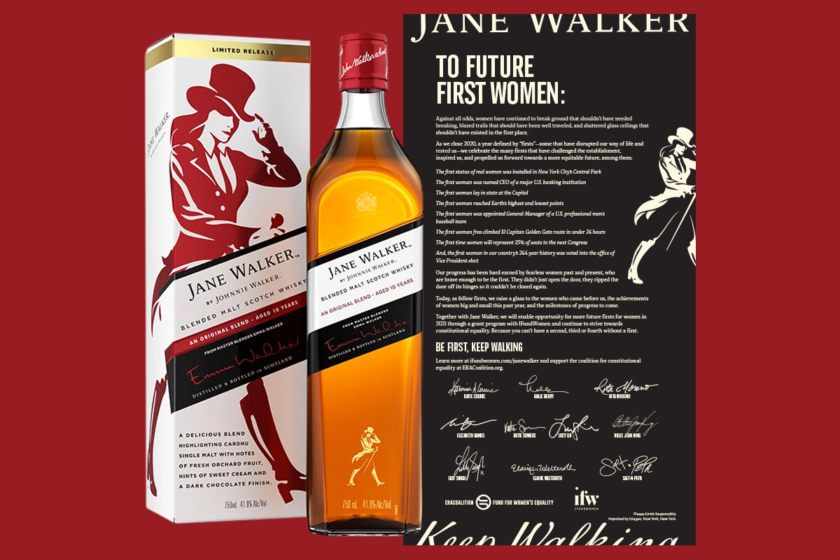 Jane Walker Johnnie Walker whiskey First Women campaign open letter New York Times Washington Post Wall Street Journal famous female
