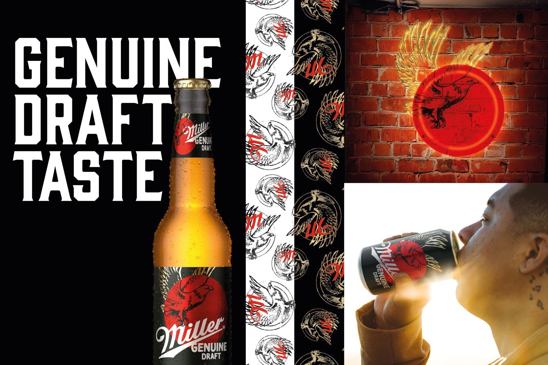 Miller Genuine Draft MGD new look rebrand brand refresh new packaging label red circle sun eagle BrandOpus Molson Coors 90s beer