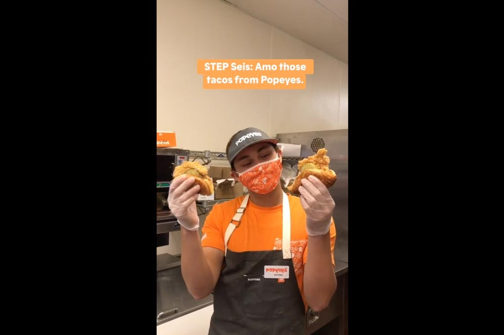 Popeyes teaches you how to make chicken sandwich tacos on TikTok