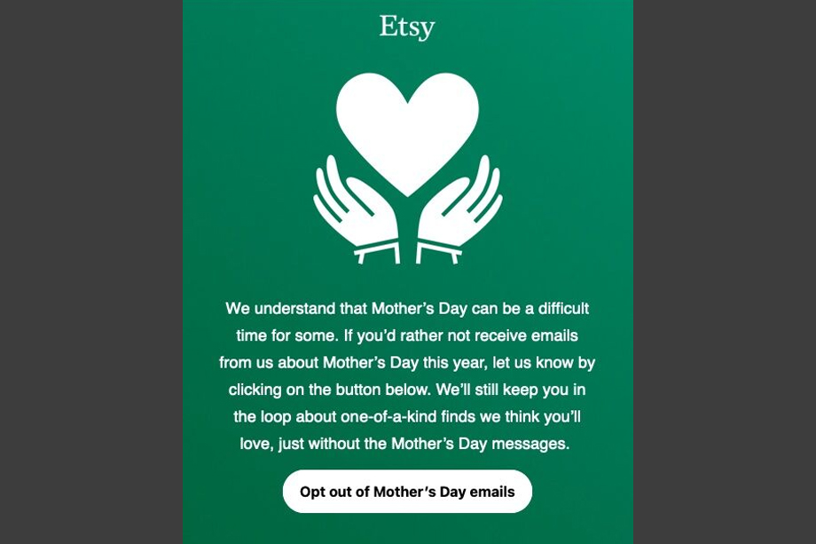 Why Etsy, Parachute and Aesop are offering an 'opt-out' from Mother's Day marketing