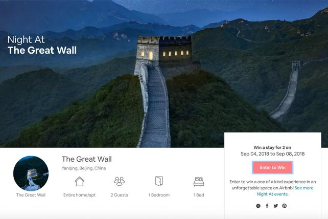 Airbnb cancels its contest for a sleepover at the Great Wall