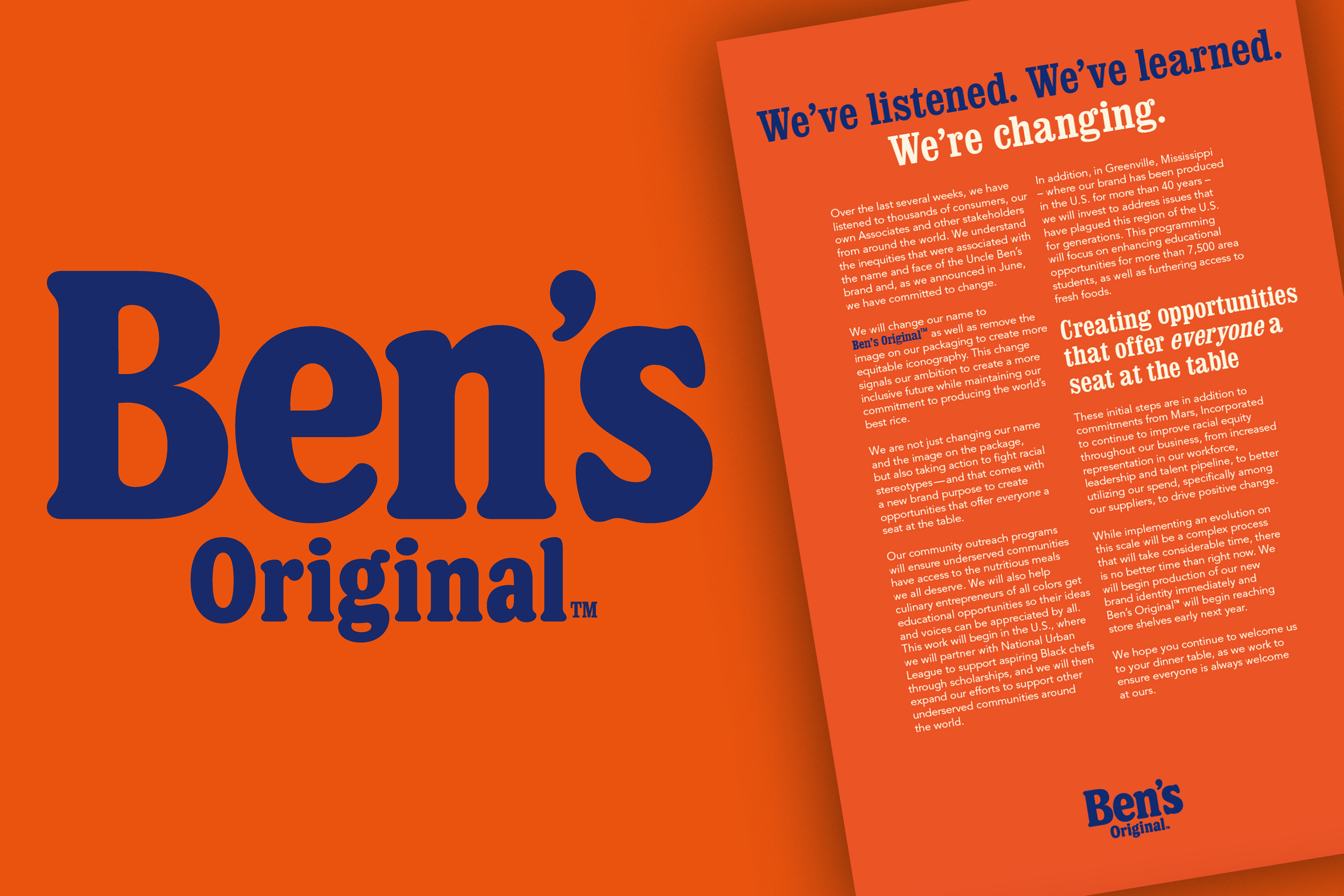 Uncle Ben's will become Ben's Original in a major rebranding effort