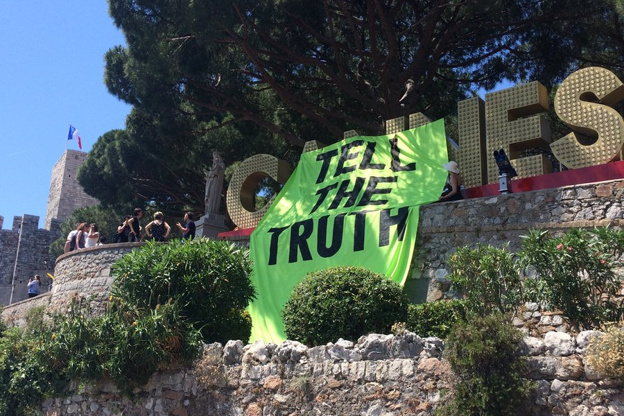 Extinction Rebellion protesters arrested at Cannes after French authorities had banned official participation in the Lions
