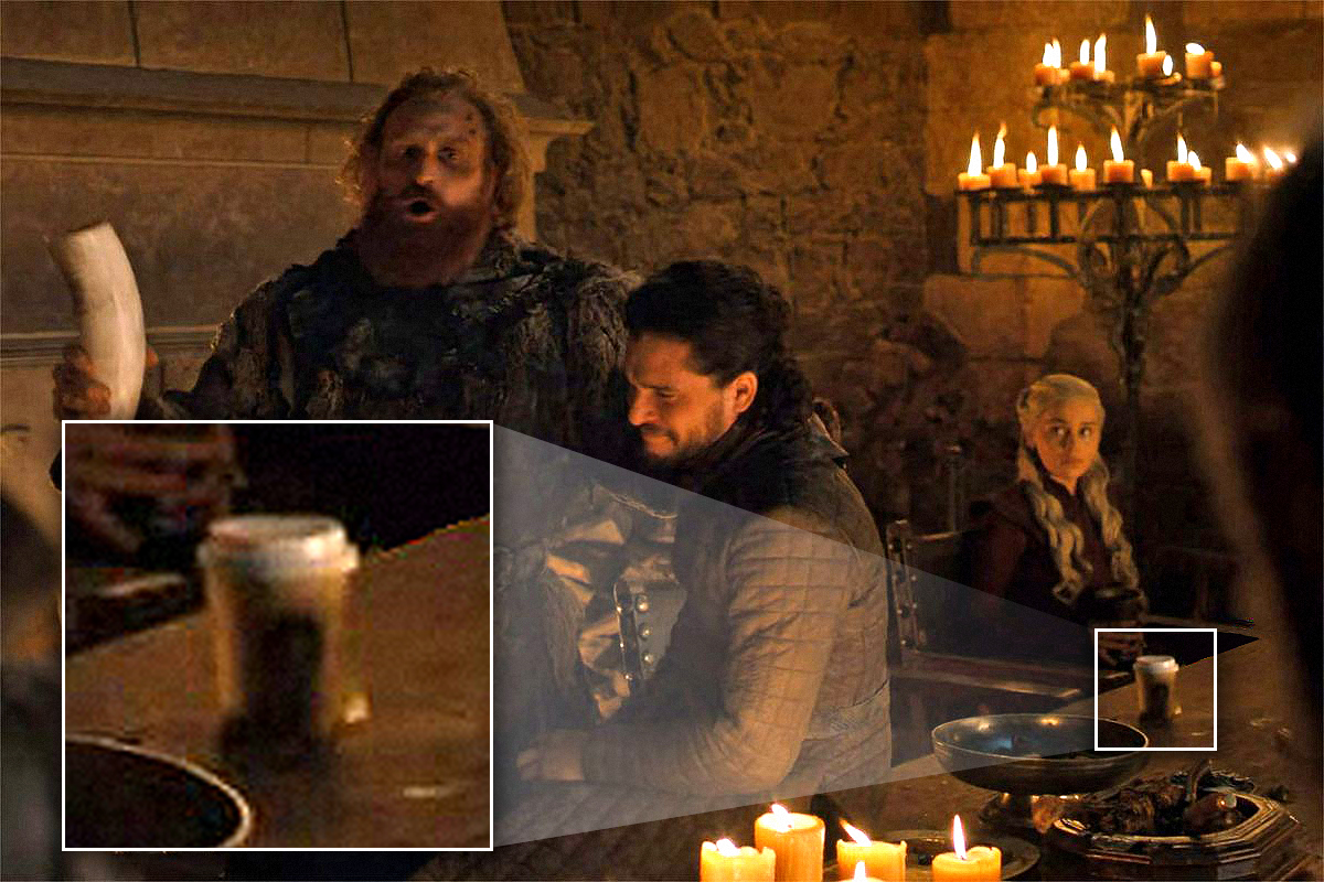 Scene from Game of Thrones where disposable coffee cup is visible on table