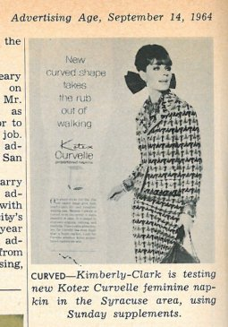 Kotex Curvelle ad from 1960's