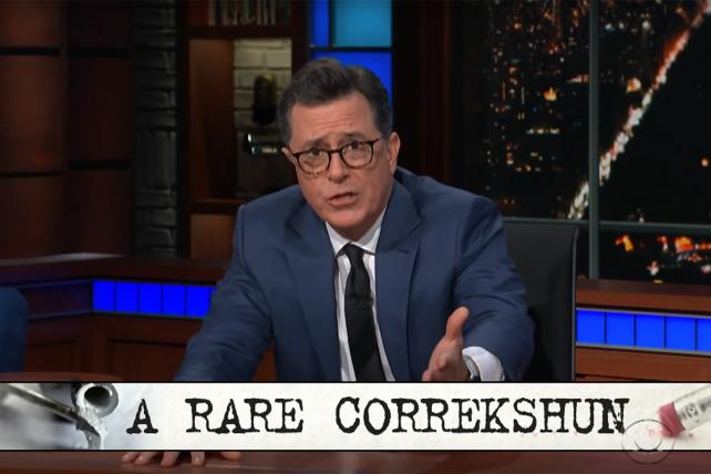 Watch Colbert issue 'a rare correkshun' and sorta-apology