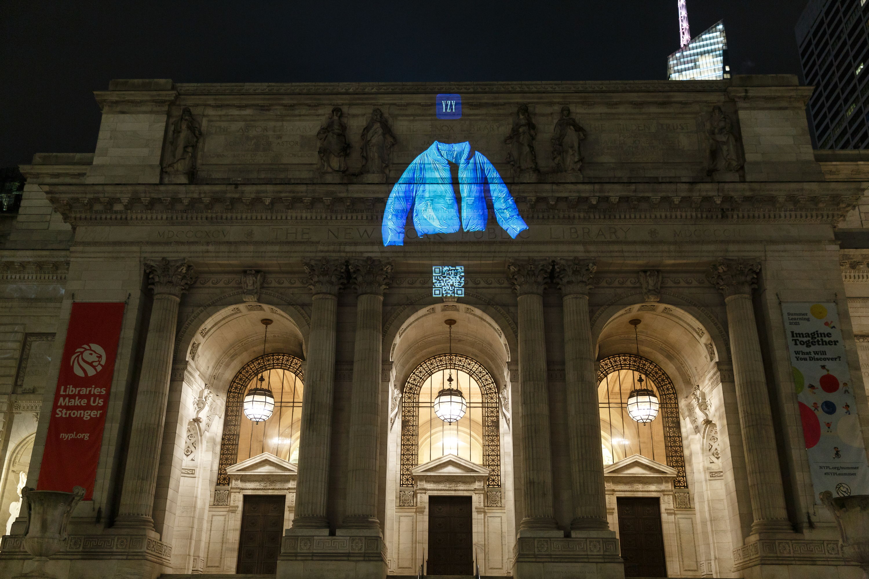 YEEZY GAP Round Jacket Floating Projection on The New York Library, June 2021