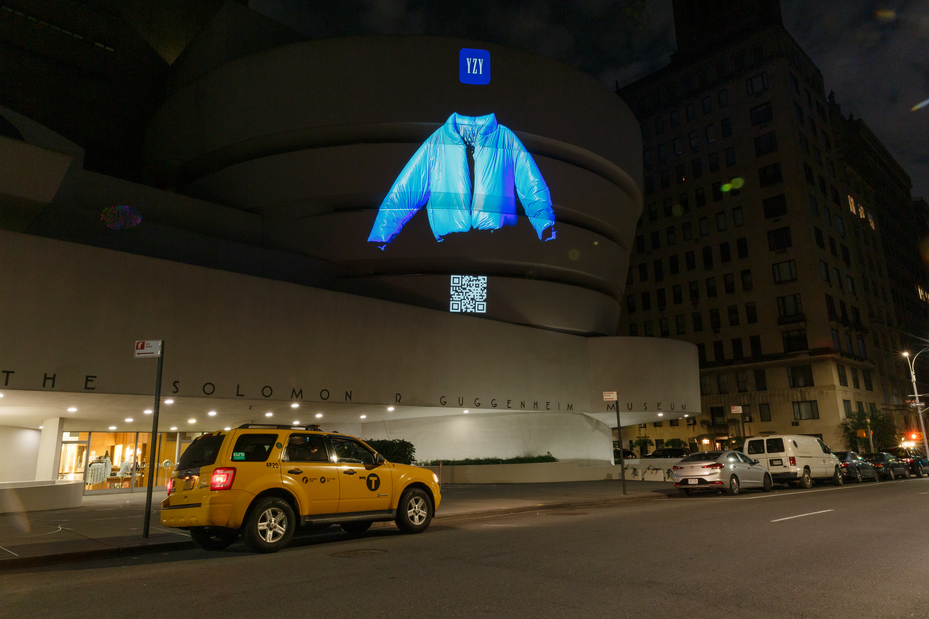 YEEZY GAP Round Jacket Floating Projection on The Guggenheim Museum, June 2021