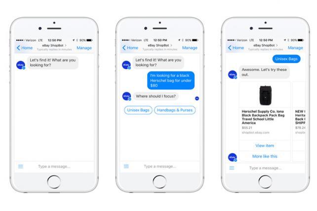 EBay Testing Shopping Assistant ShopBot on Facebook Messenger