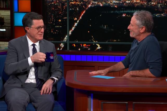 Watch Jon Stewart interview Stephen Colbert on The Late Show