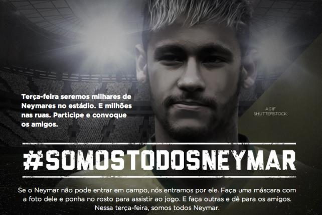 Will 60,000 Brazil Fans Wear Neymar Mask at Today's World Cup Game?